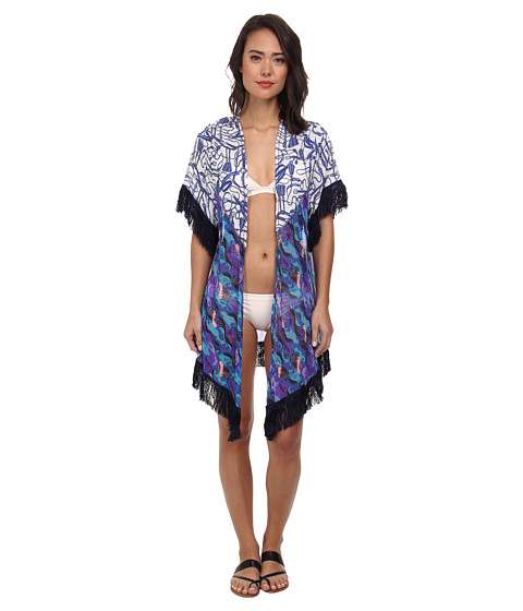 Maaji - Bleu Saddles Kimono Cover-Up (Multi) Women's Swimwear