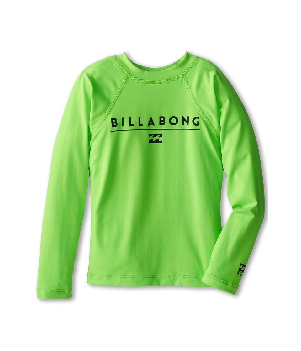 Image of Billabong Kids - All Day L/S Rashguard (Toddler/Little Kids/Big Kids) (Neon Green 2) Boy's Swimwear