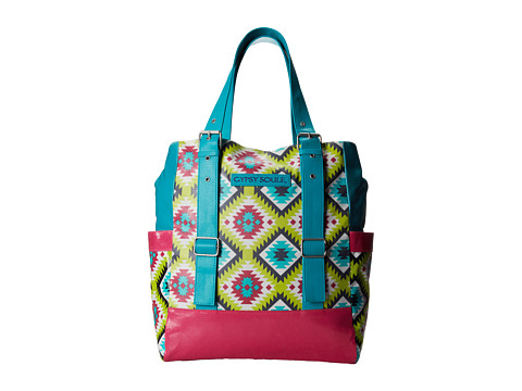 Gypsy SOULE - Zip Top Tote (Turquoise/Lime/Pink) Tote Handbags