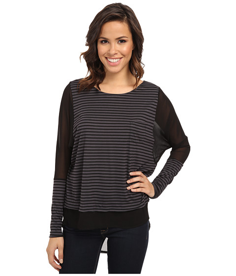 Seven7 Jeans - Chiffon Mix Stripe Raglan (Charcoal Grey/Black) Women's Clothing