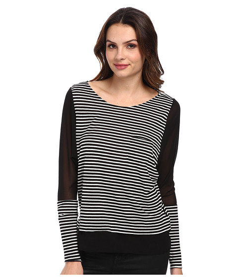 Seven7 Jeans - Chiffon Mix Stripe Raglan (Cream/Black) Women