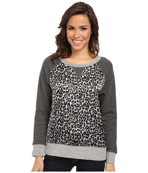 Seven7 Jeans - Leopard Print Sweatshirt (Charcoal Heather Grey) Women