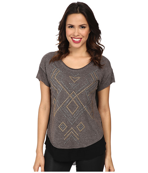 Seven7 Jeans - Hi Low 2Fer Stud Top (Grey) Women's T Shirt