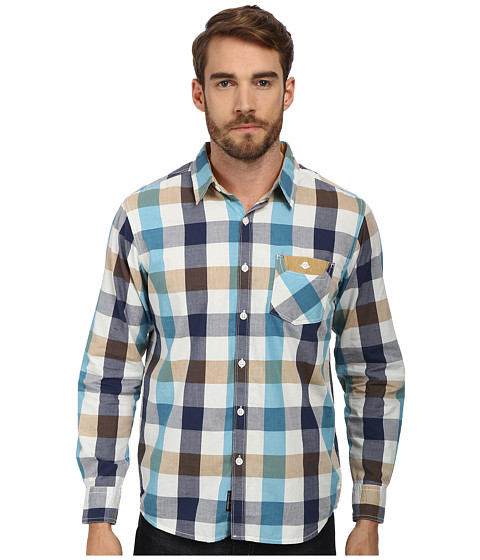 Seven7 Jeans - Acid Wash Plaid Roll Sleeve Shirt (Fog) Men