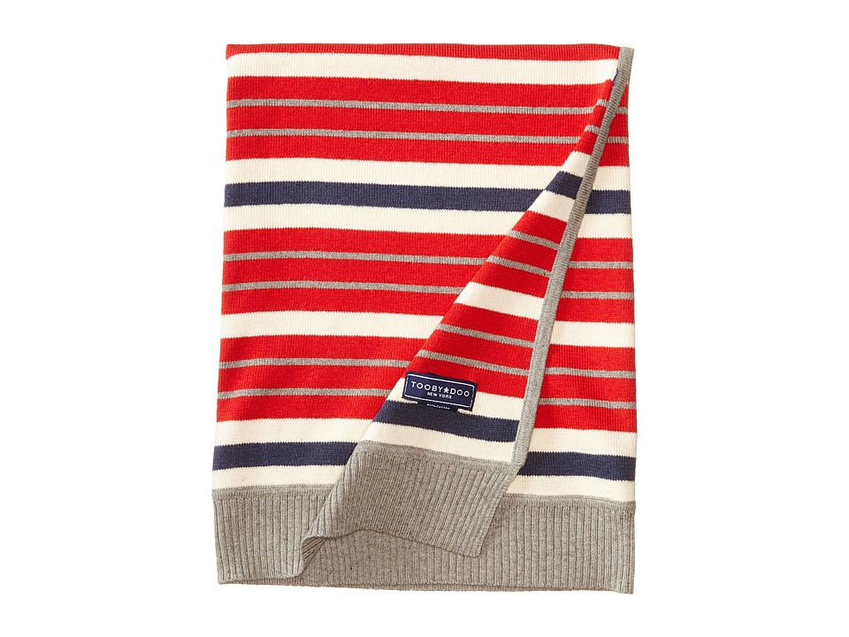 Toobydoo - Striped Cotton Cashmere Blanket (Red/Navy) Blankets