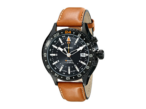 Timex - Intelligent Quartz 3-GMT Dial Leather Strap Watch (Black/Brown) Watches