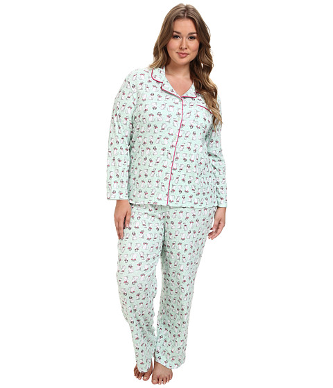 Karen Neuburger - Plus Size L/S Girlfriend Long PJ (Cat Mint) Women's Pajama Sets