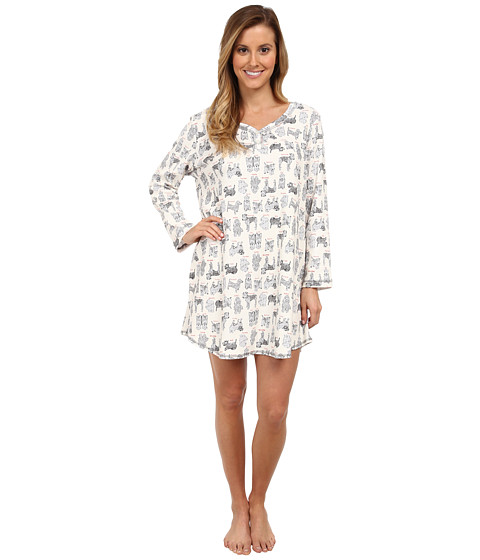 Karen Neuburger - L/S Pullover Nightshirt (Dog Cream) Women