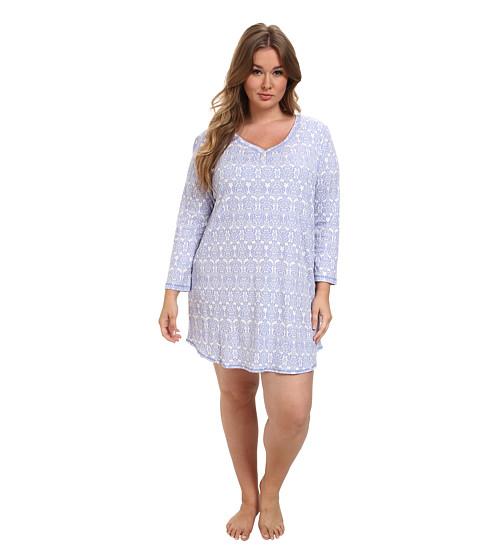 Karen Neuburger - Plus Size L/S Pullover Nightshirt (Brocade Peri) Women