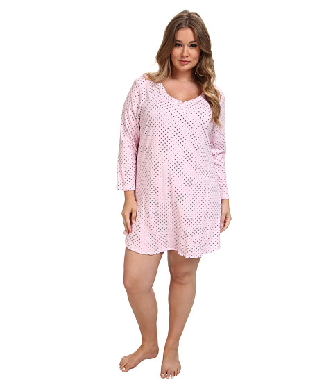Karen Neuburger - Plus Size L/S Pullover Nightshirt (Dot Pink) Women