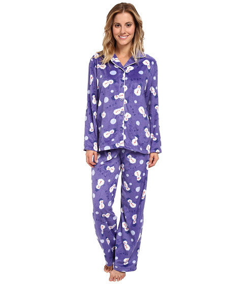 Karen Neuburger - L/S Girlfriend Long PJ (Snowman Peri) Women's Pajama Sets