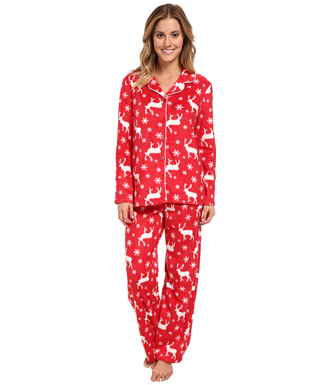 Karen Neuburger - L/S Girlfriend Long PJ (Moose Red) Women's Pajama Sets