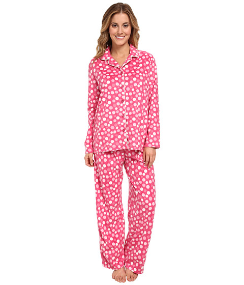 Karen Neuburger - L/S Girlfriend Long PJ (Dot Fuchsia) Women's Pajama Sets