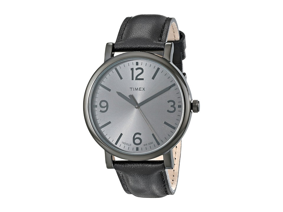 Timex - Originals Classic Round Leather Strap Watch (Black) Watches