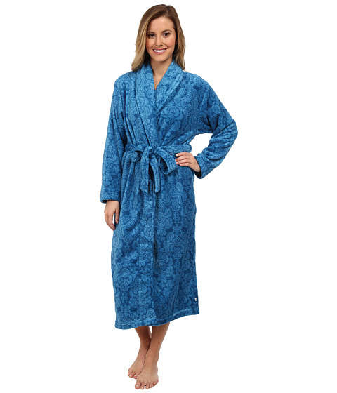 Karen Neuburger - L/S Shawl Collar Robe (Brocade Blue Teal) Women's Robe