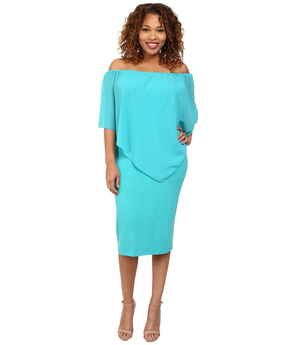 Gabriella Rocha - Plus Size Chiffon Nalah Dress (Teal) Women's Dress