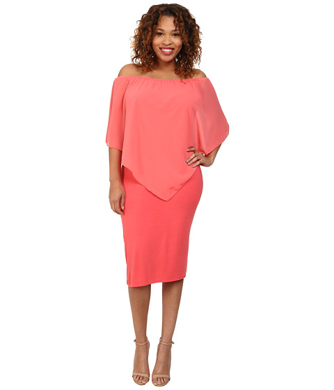 Gabriella Rocha - Plus Size Chiffon Nalah Dress (Coral) Women