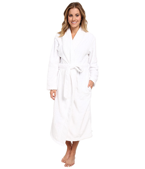 Karen Neuburger - L/S Shawl Collar Robe (Optical White) Women's Robe