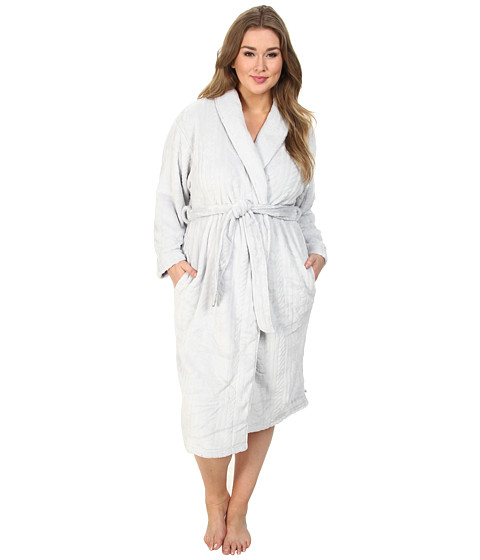 Karen Neuburger - Plus Size L/S Shawl Collar Robe (Solid Ice Grey) Women's Robe