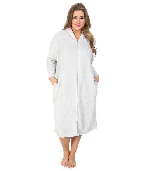 Karen Neuburger - Plus Size L/S Zip Robe (Solid Ice Grey) Women