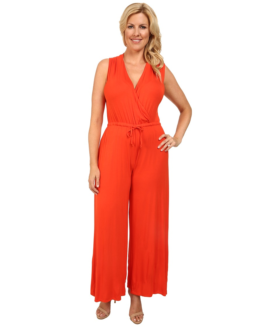 Culture Phit - Plus Size Danielle Wrap Romper (Orange) Women's Jumpsuit & Rompers One Piece