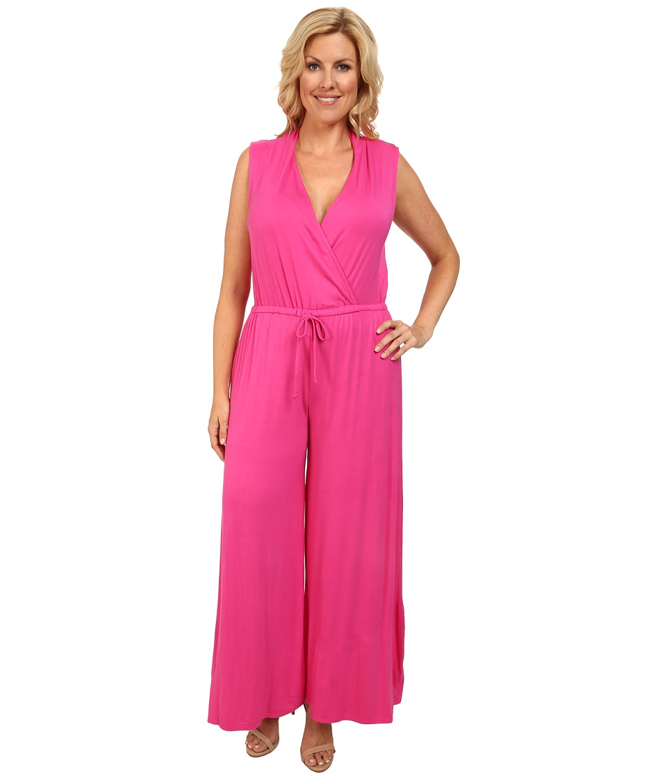 Culture Phit - Plus Size Danielle Wrap Romper (Fuchsia) Women's Jumpsuit & Rompers One Piece
