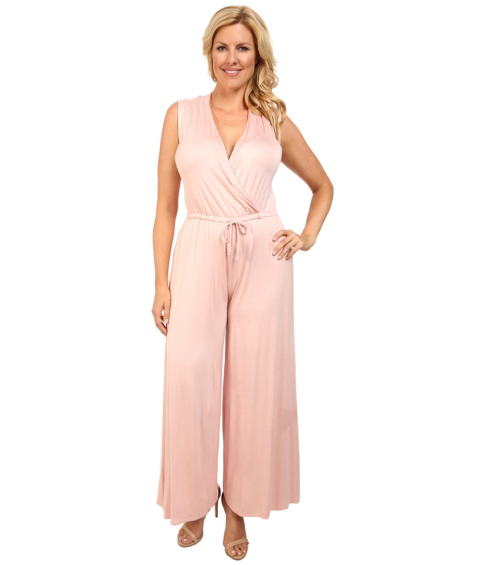 Culture Phit - Plus Size Danielle Wrap Romper (Dusty Pink) Women's Jumpsuit & Rompers One Piece