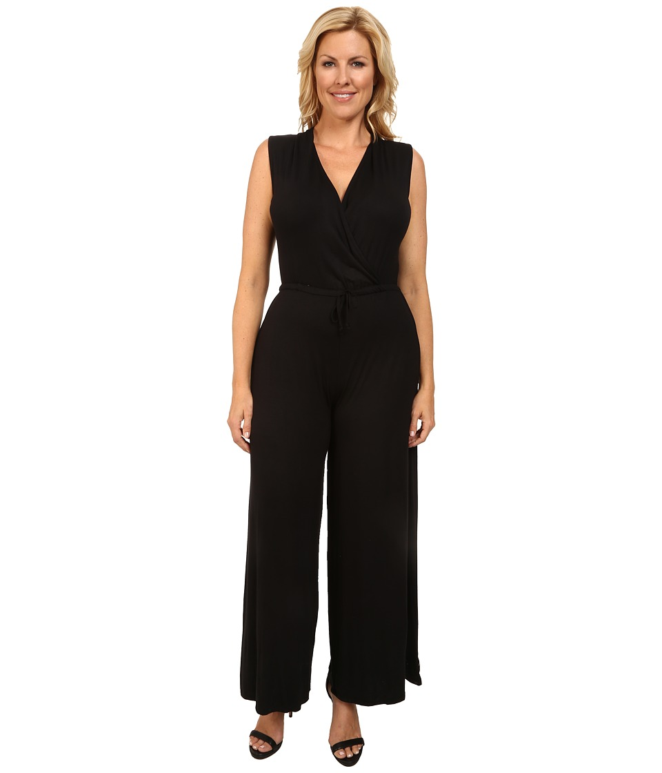 Culture Phit - Plus Size Danielle Wrap Romper (Black) Women's Jumpsuit & Rompers One Piece