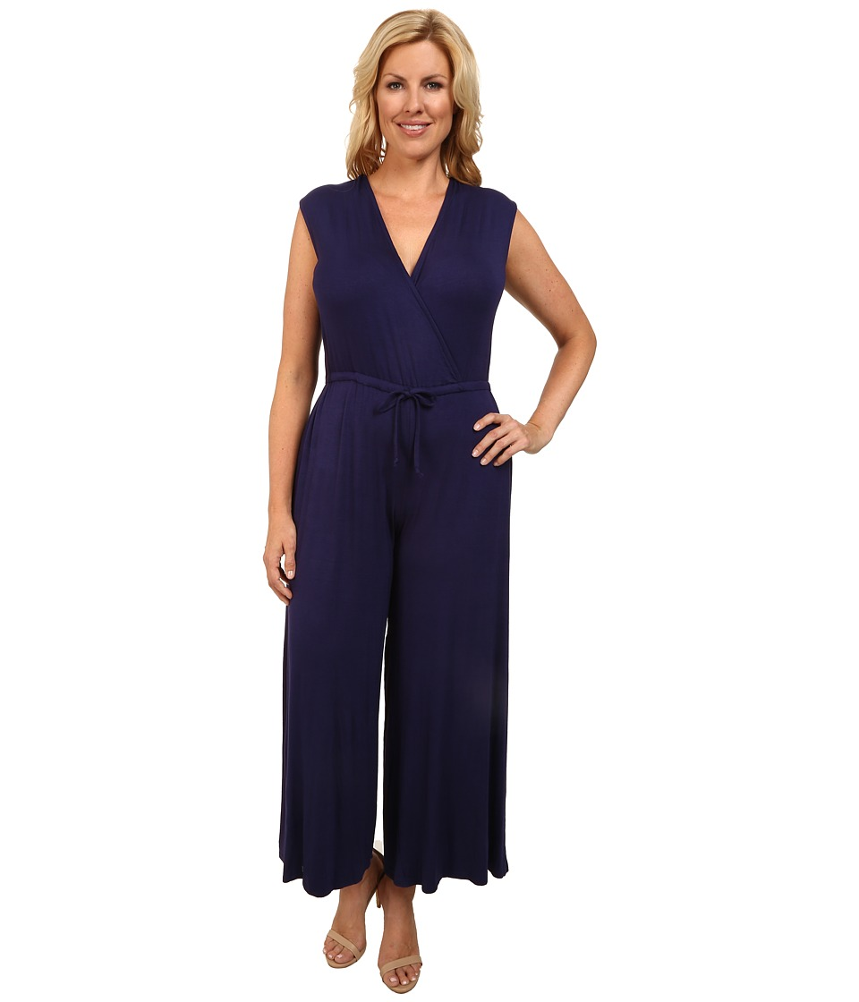 Culture Phit - Plus Size Danielle Wrap Romper (Navy) Women's Jumpsuit & Rompers One Piece