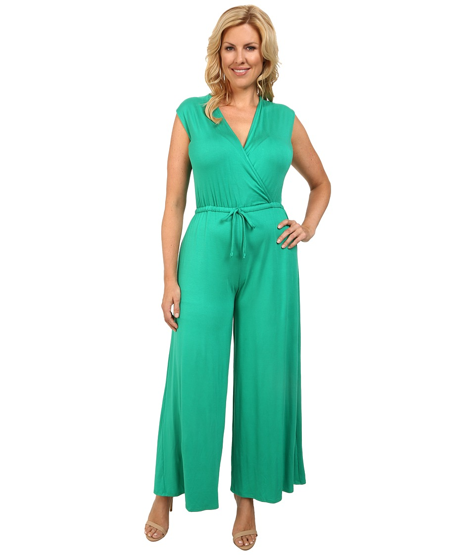 Culture Phit - Plus Size Danielle Wrap Romper (Kelly Green) Women's Jumpsuit & Rompers One Piece