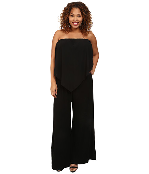 Gabriella Rocha - Plus Size Sassy Chiffon Jumper (Black) Women's Jumpsuit & Rompers One Piece