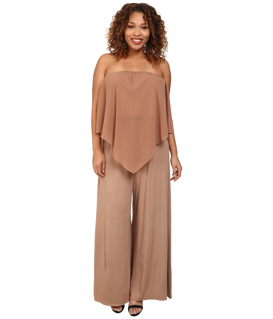 Gabriella Rocha - Plus Size Sassy Chiffon Jumper (Taupe) Women's Jumpsuit & Rompers One Piece