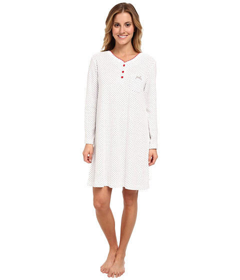Karen Neuburger - L/S Henley Nightshirt (Dot Grey) Women's Pajama