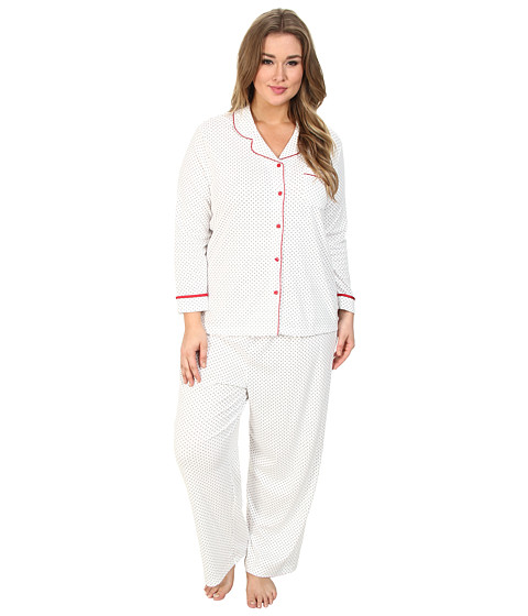 Karen Neuburger - Plus Size L/S Girlfriend PJ (Dot Grey) Women's Pajama Sets