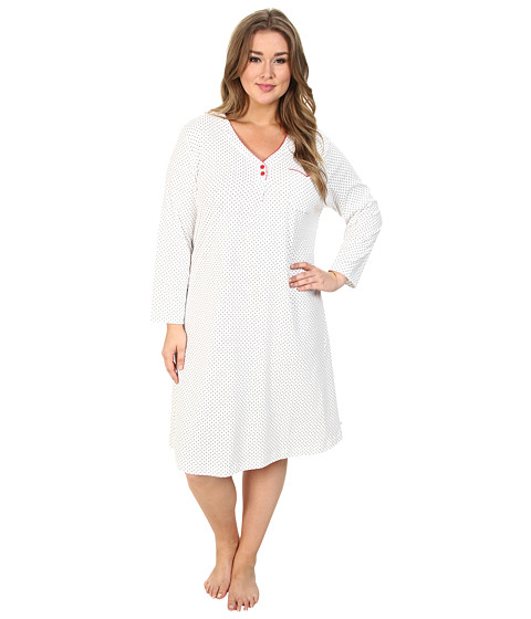 Karen Neuburger - Plus Size L/S Henley Nightgown (Dot Grey) Women's Pajama