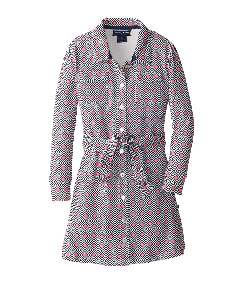 Toobydoo - Cotton Spandex Dress (Little Kids/Big Kids) (Pink/Navy/White) Girl's Dress