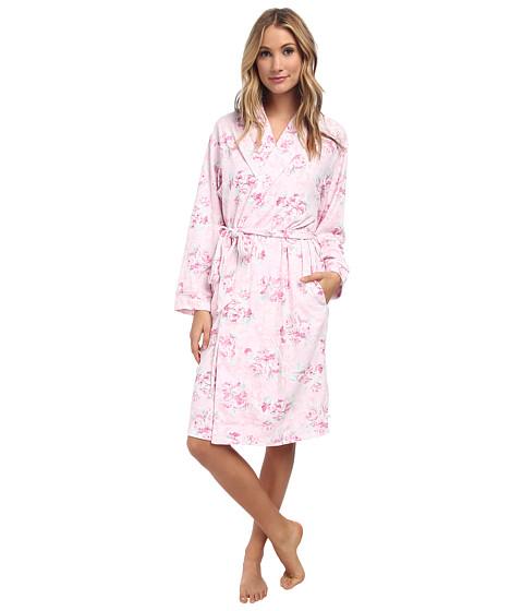 Karen Neuburger - L/S Shawl Collar Robe (Floral Pink) Women
