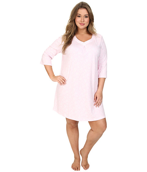 Karen Neuburger - Plus Size 3/4 Sleeve Pullover Nightshirt (Lace Pink) Women