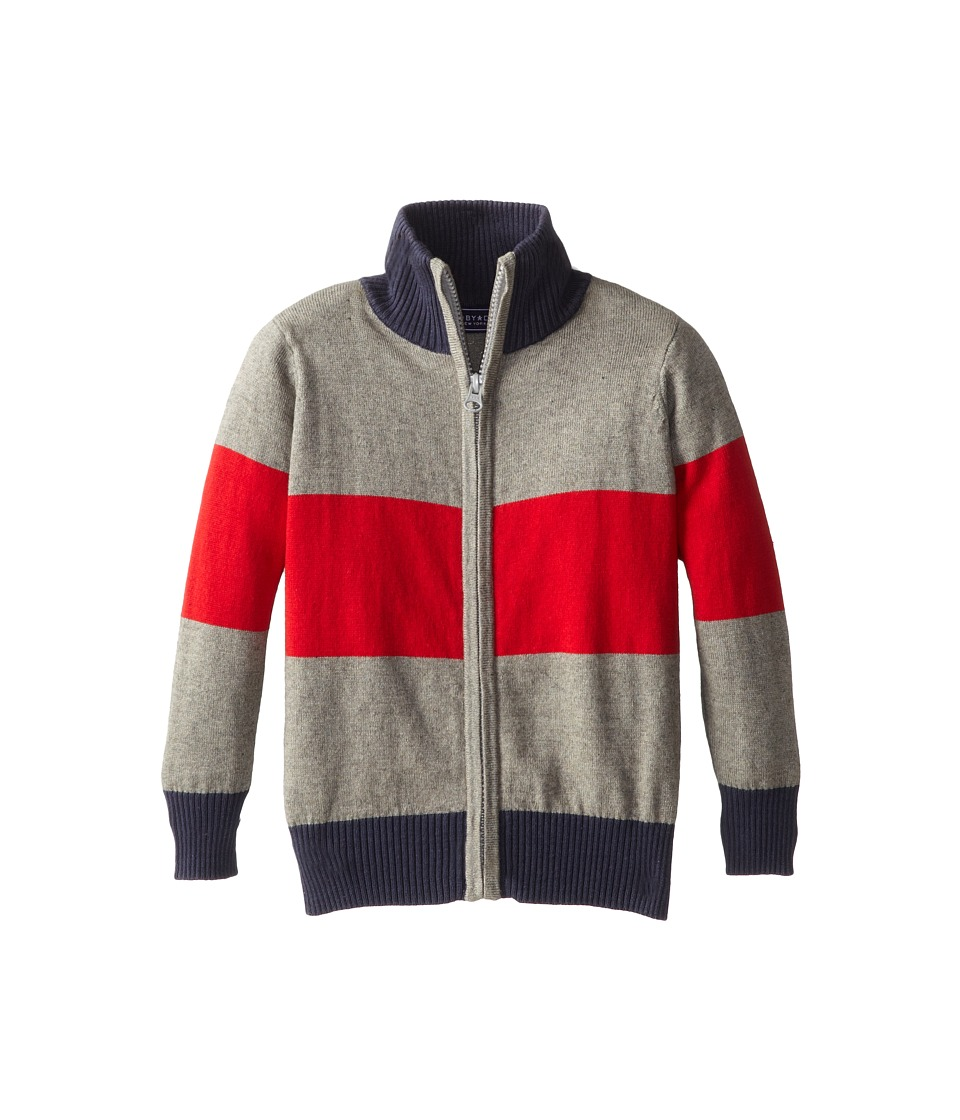 Toobydoo - Block Stripe Zip Sweater (Toddler/Little Kids/Big Kids) (Red/Grey) Boy's Sweater