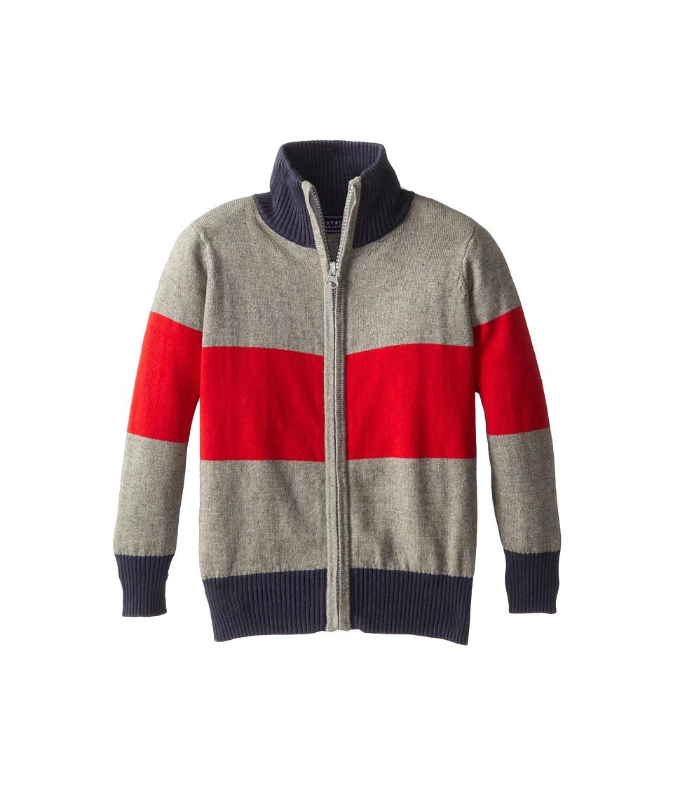 Toobydoo - Block Stripe Zip Sweater (Toddler/Little Kids/Big Kids) (Red/Grey) Boy's Sweater