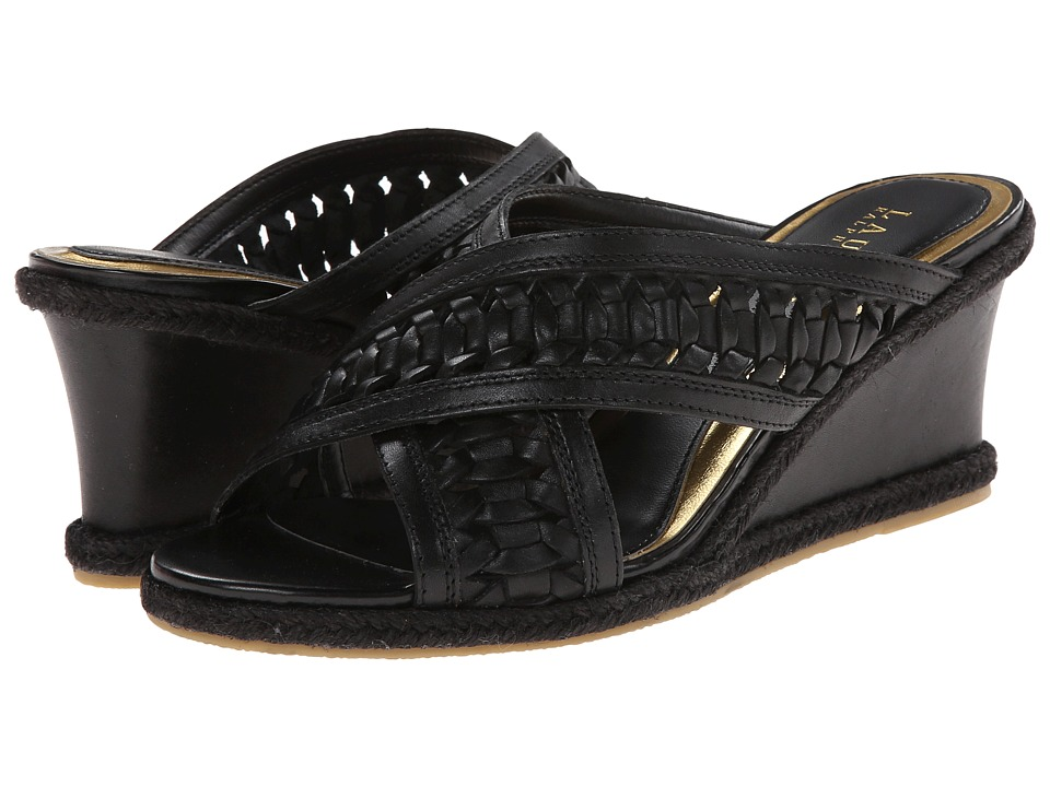 LAUREN by Ralph Lauren - Giana (Black Burnished Leather) Women's Wedge Shoes