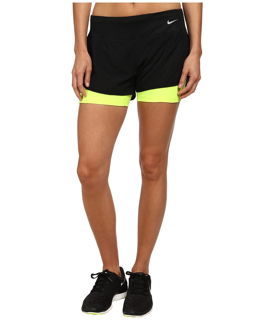 Nike - Perforated Rival 2-in-1 Short (Black/Black/Volt/Reflective Silver) Women's Shorts