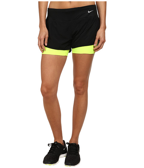 Nike - Perforated Rival 2-in-1 Short (Black/Black/Volt/Reflective Silver) Women