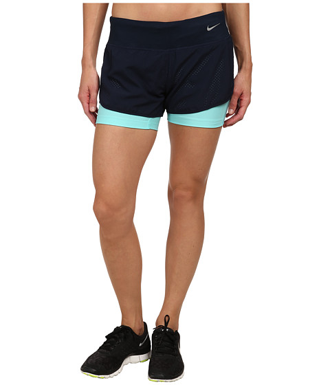 Nike - Perforated Rival 2-in-1 Short (Obsidian/Obsidian/Light Aqua/Reflective Silver) Women's Shorts