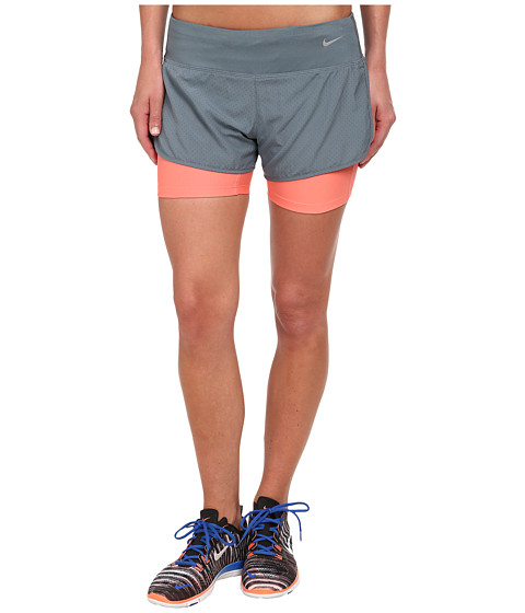 Nike - Perforated Rival 2-in-1 Short (Blue Graphite/Blue Graphite/Sunblush/Reflective Silver) Women's Shorts