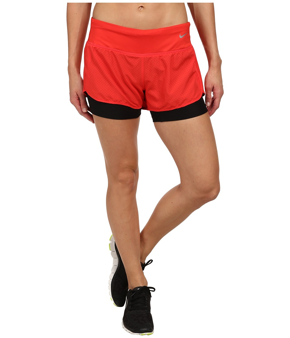 Nike - Perforated Rival 2-in-1 Short (Daring Red/Daring Red/Black/Reflective Silver) Women