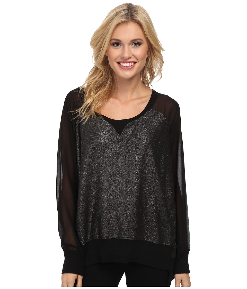 French Connection - Foil Ditton Sweatshirt (Black (Gunmetal Foil)) Women