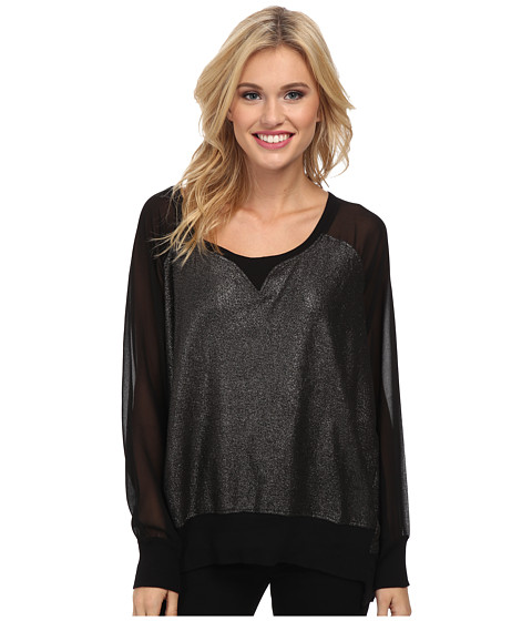 French Connection - Foil Ditton Sweatshirt (Black (Gunmetal Foil)) Women's Clothing