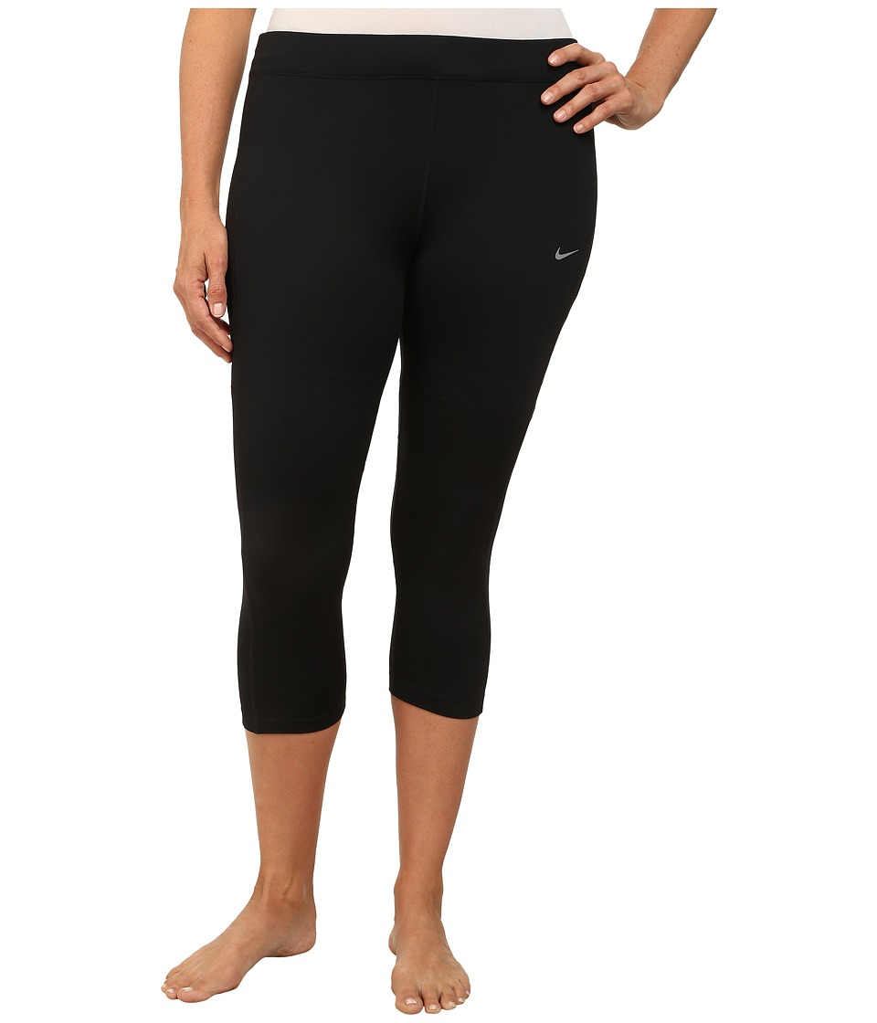 Nike - Dri-FITtm Essential Running Crop (Size 1X-3X) (Black/Black/Black/Reflective Silver) Women's Capri