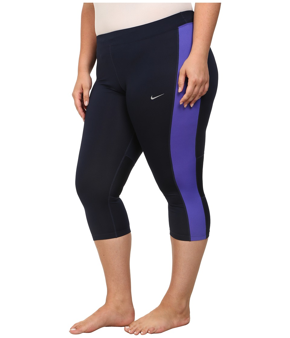 Nike Dri-FITtm Essential Running Crop (Size 1X-3X) (Obsidian/Persian Violet/Reflective Silver) Women